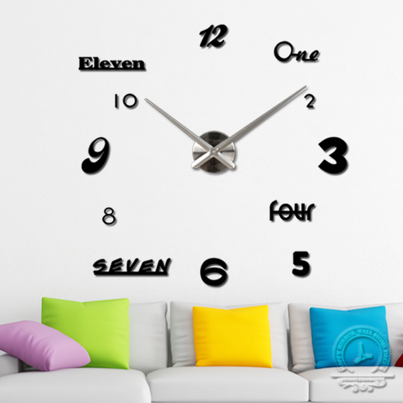 3D Large number mirror wall clock Modern design big decorative DIY acrylic clocks Home decoration - YIWU MINO HOMEDCOR store