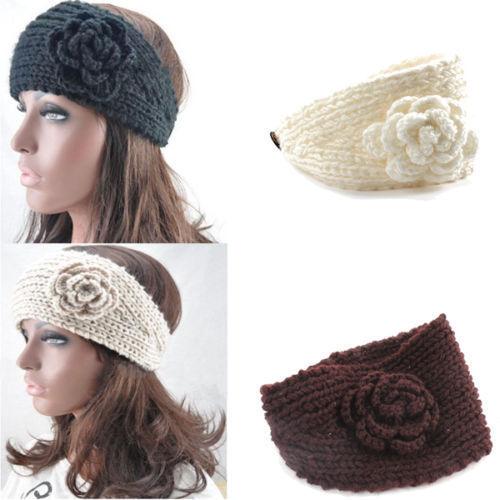 Women Crochet Headband Knit Hairband Flower Winter Ear Warmer Headwrap 4 Colors(China (Mainland))