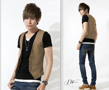 2015 V-neck Polyester Dobby Ma3 Jia3 Youth Limited Rushed Colete Masculino Spring And Summer Fashion Small Vest Male Fashionable(China (Mainland))