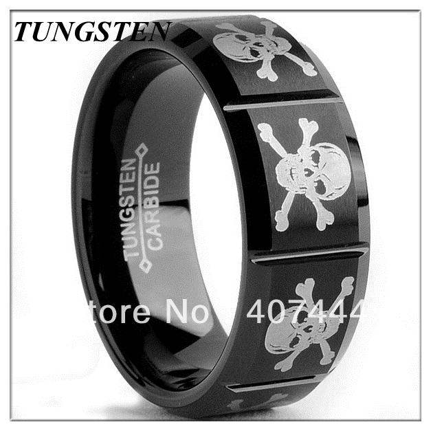 2013 Hot Selling 8mmTungsten Carbide Black-plated Laser-etched Skull Design Ring  Wedding Ring Mens Ring Wholesale<br><br>Aliexpress