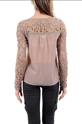 New HOT!Women Lace Sleeve Chiffion Blouses Tops Emboriey Gorgeous Shirts long Sleeve embroidery Crochet  Blouse
