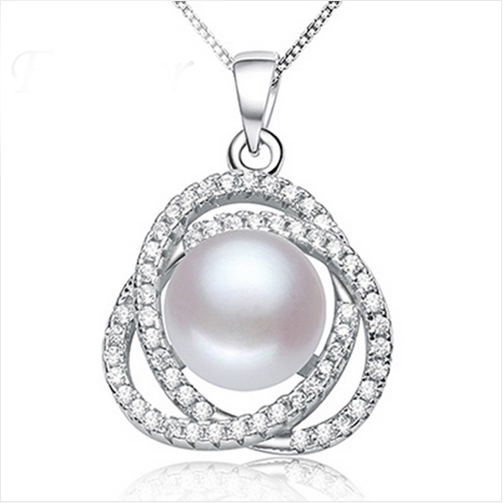 2016 Fashion Genuine Pearl Necklace Vintage Silver Pendant Nice White Pink Purple Freshwater Pearl Wedding Necklace For Wife(China (Mainland))