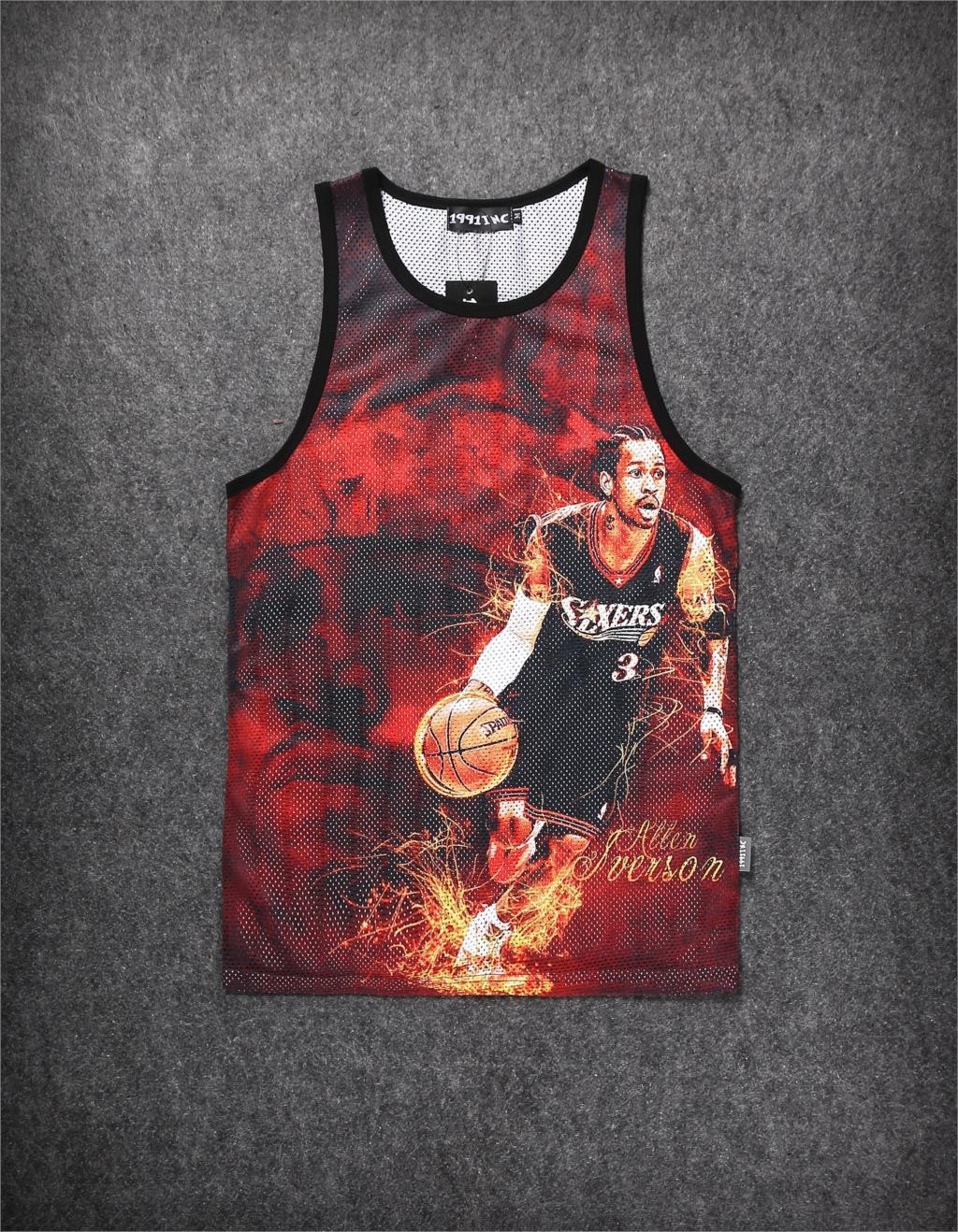 2015 Mens Sport Tank Top Vest 3D Stars Figure Print Nets Breathe basketball Shoot Sleeveless Flame background Tanks Tops - O M G HIP HOP STREET WEAR ONLINE STORE store