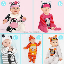One Pieces 2015 new style baby clothing with free hat lovely animals baby costume romper