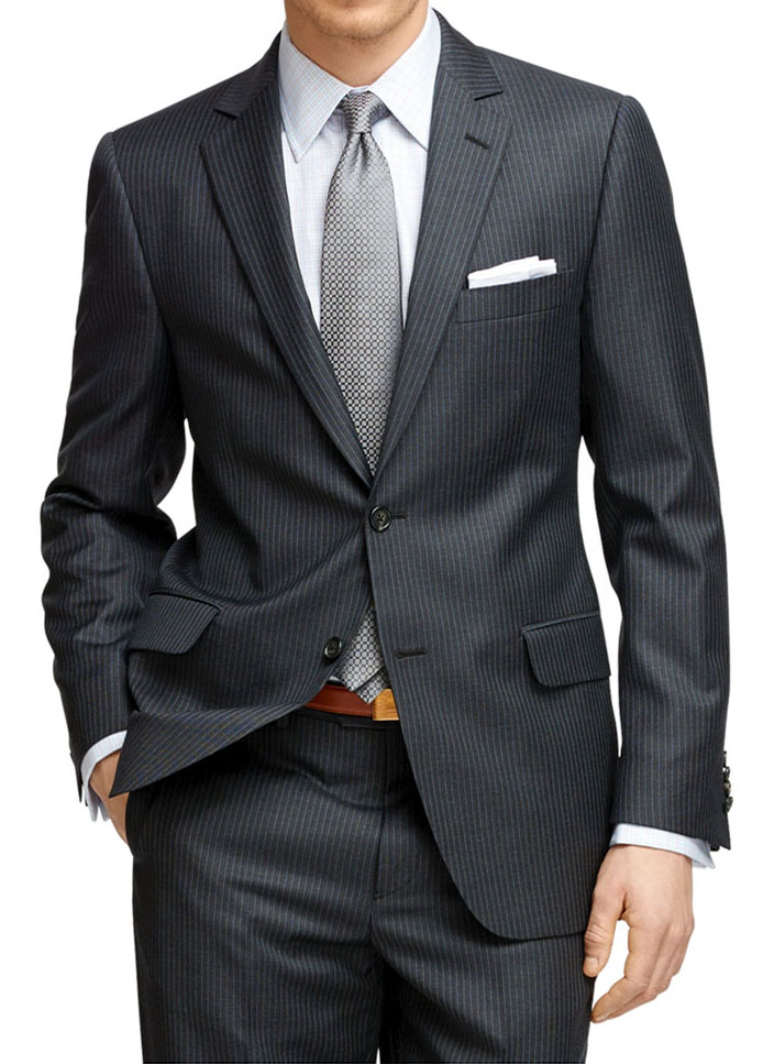 Grey pinstripe suit wedding