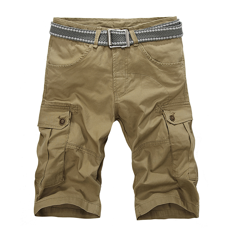 2014 casual khaki mens cargo shorts New summer cotton Short pants military fashion men hot black, Khaki