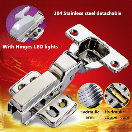 Hydraulic buffer 304 Stainless steel detachable furniture hinge concealed adjustable inset kitchen cabinet hinges with LED light(China (Mainland))