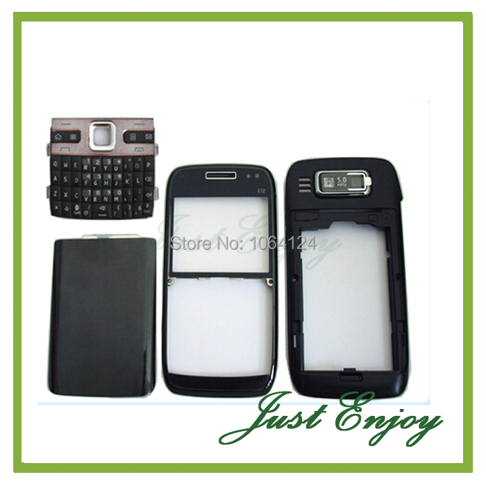 Brand New Housing Cover Case +Keypads For Nokia E72 Housing Full Complete Case +Tools Black Sliver Color Free Tracking(China (Mainland))