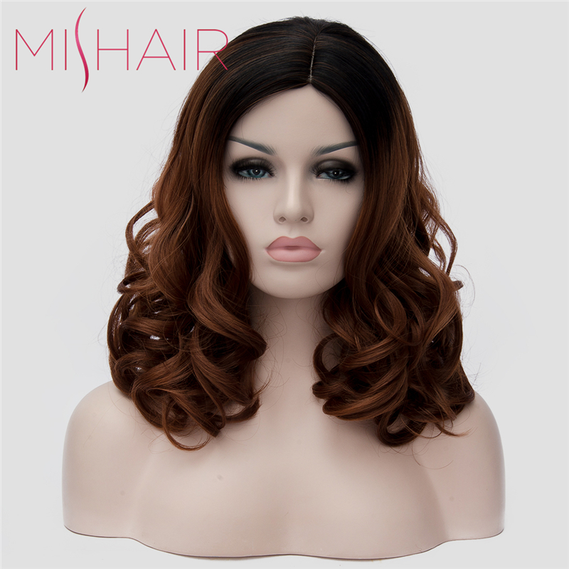 Mishair 18 inch Women's Black Brown Ombre Wig Long Wavy Curly Women Hair High Quality Synthetic Wigs Cosplay Brown Colored hair(China (Mainland))