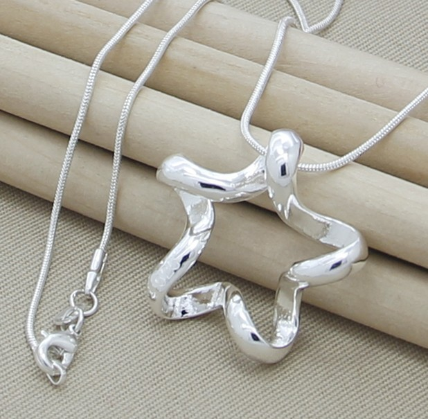 Silver 925 Chain Wholesale 925 silver necklaces Hollow Star 925 silver necklace Fashion jewelry Man 2014