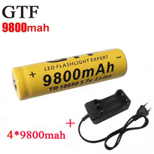 4pcs/set 18650 battery 3.7V 9800mAh rechargeable li-ion battery + one charger for Led flashlight batery litio battery 18650(China (Mainland))