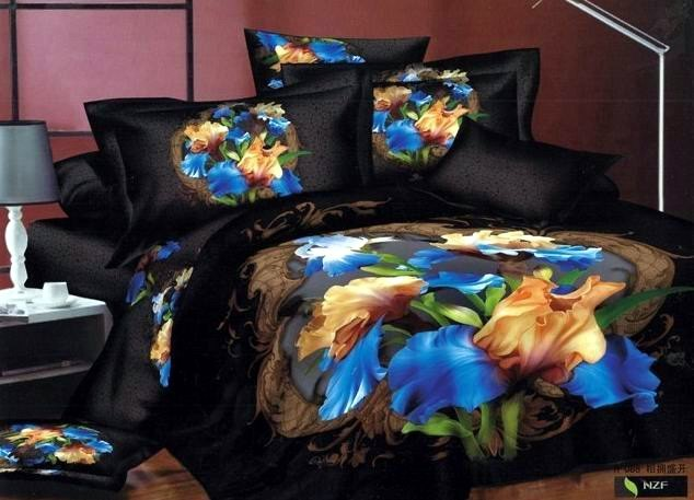 Personalized ink oil painting reactive cotton bedding 100% print black four piece bedding set 3d bedding sets