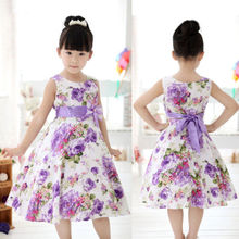 Girls Kids Princess Christmas Party Purple Flower Bow Gown Formal Dresses 2-11Y Free Shipping