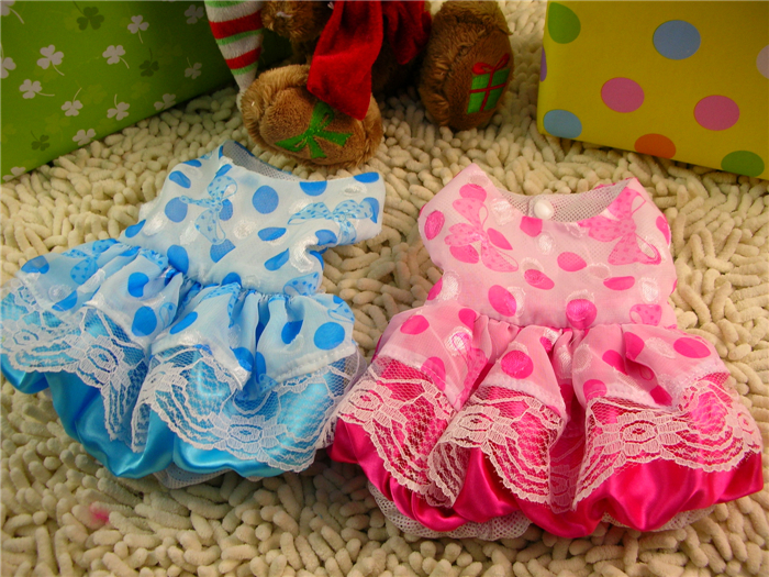Free Shipping New Brand Dream Dot Printed Pet Princess Dress Dog Skirt Clothes(China (Mainland))