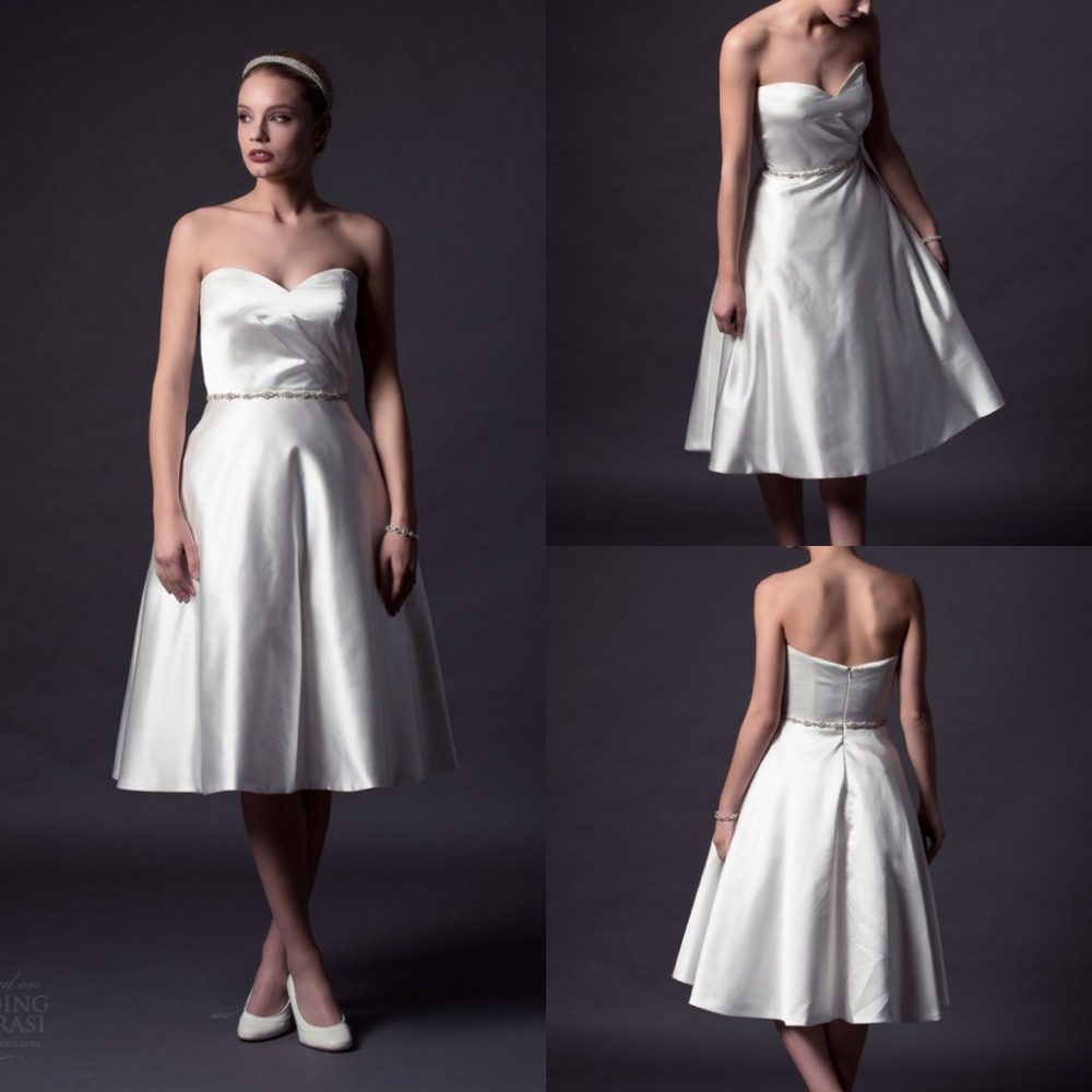 2015 simple wedding dresses a line tea length sweetheart for Simple tea length wedding dresses