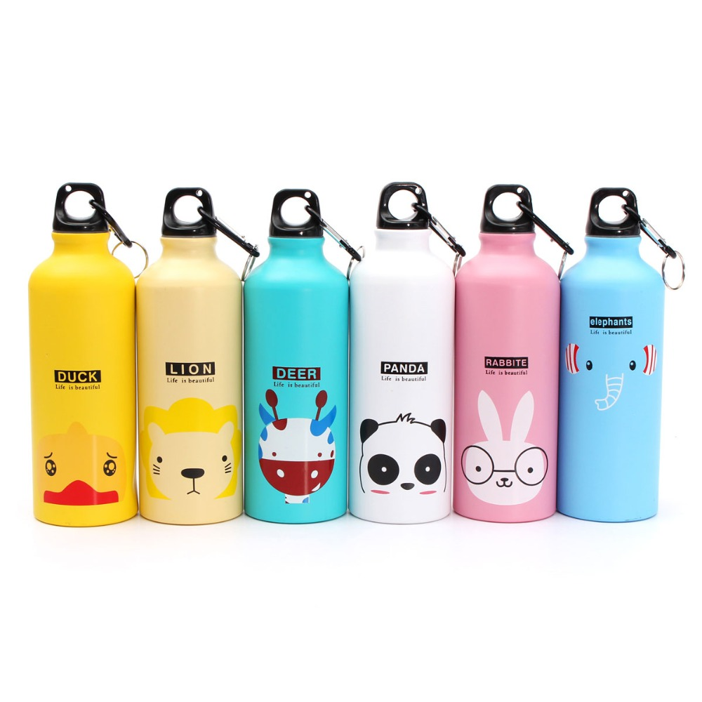 500ml Lovely Animals Outdoor Portable Sports Water Bottles Cycling Camping Bicycle Aluminum Alloy School kids Water Bottle(China (Mainland))