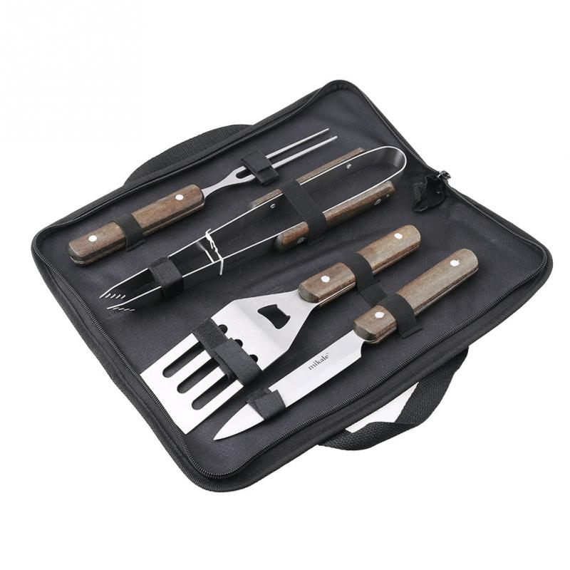 1 SET BBQ Grill Stainless Steel Barbecue Set with Storage Case Outdoor Barbecue Tool Combination(4PCS/Set)(China (Mainland))