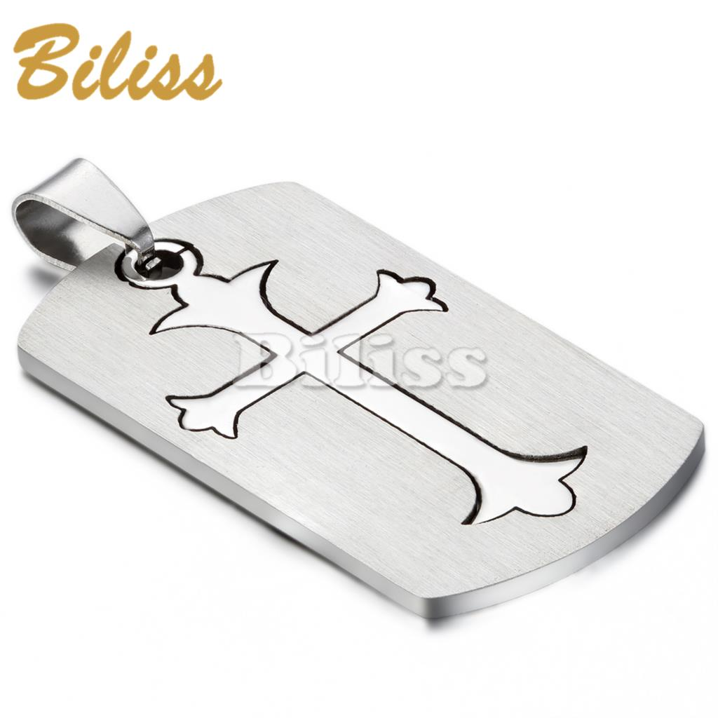 2015 New Dog Tag Cross Necklace 316L Stainless Steel Pendant Necklaces For Men with 22 inch Chain Wholesale colgantes hombre(China (Mainland))