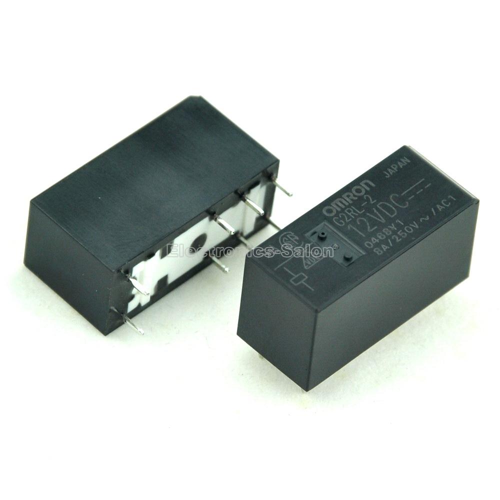 ( 10 pcs/lot )  G2RL-2 12VDC 12V High Capacity Low Profile DPDT 8 Amp Power PCB Relay.<br><br>Aliexpress