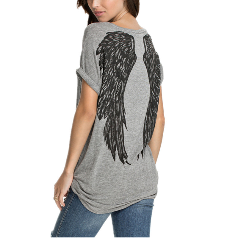 Fashion Summer New Style Back Wings Pattern Printed T shirt Women Short Sleeve O-neck Cotton Tops Tee Casual Plus Size BlusasОдежда и ак�е��уары<br><br><br>Aliexpress