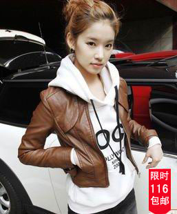 jaqueta couro Brown stand collar short motorcycle PU design slim leather clothing female water wash leather jacket outerwearОдежда и ак�е��уары<br><br><br>Aliexpress