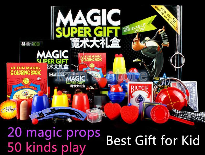 Magic Trick Set 50 Kinds Magic Play with DVD Teaching Professional Magic Tricks Stage Close Up Magic Prop Gimick Card Puzzle Toy(China (Mainland))