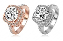 LZESHINE Brand Ring Jewelry Cubic Zircon18K Rose Gold Plate SWA Elements Austrian Crystal Fashion Finger Rings