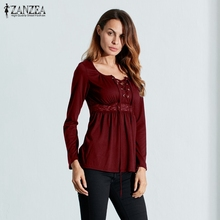 Buy 2017 Autumn Sexy Blouse Tops V Neck Long Sleeve Lace Splice Solid Blusas Shirt Casual Plus Size Blouses Oversized ZANZEA Women for $6.71 in AliExpress store