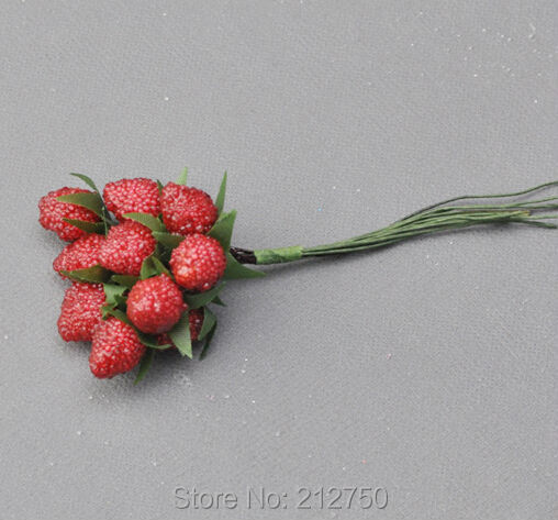 Free shipping 144pcs/lot artificial small strawberry cherry Christmas festival decoration supplies(China (Mainland))