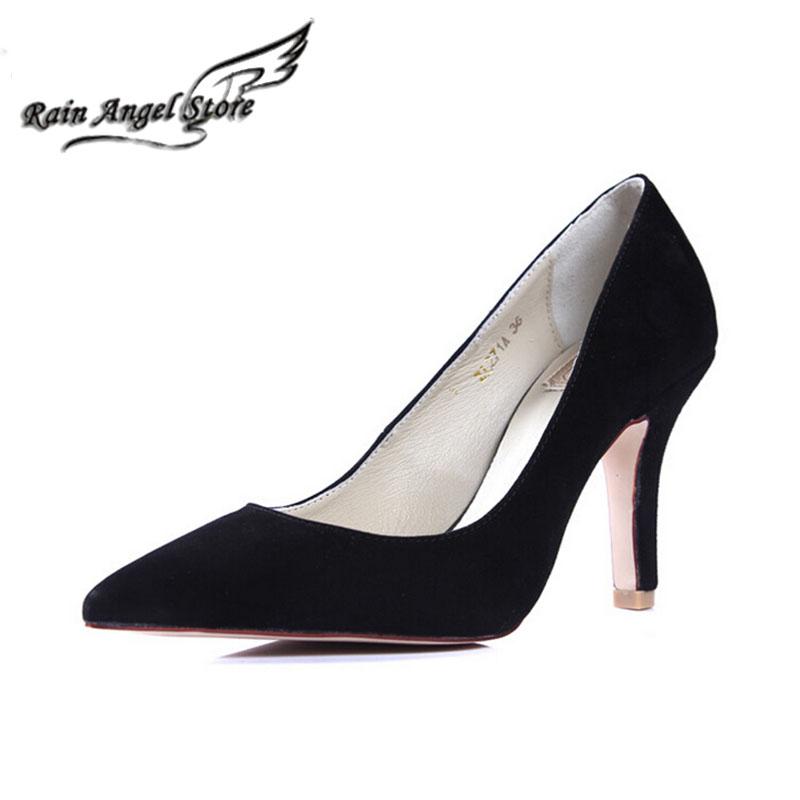 Genuine Leather Pointed Toe High Heels Women Pumps Shoes Black Sheepskin Wedding Big Size 41 - Rain Angel store