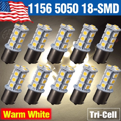Hot Selling LED Car Lights10pcs/lot Warm White 1156 BA15S 18-SMD 5050 18 led Light Lights Turn Signal Backup Reverse Bulb Lamps(China (Mainland))