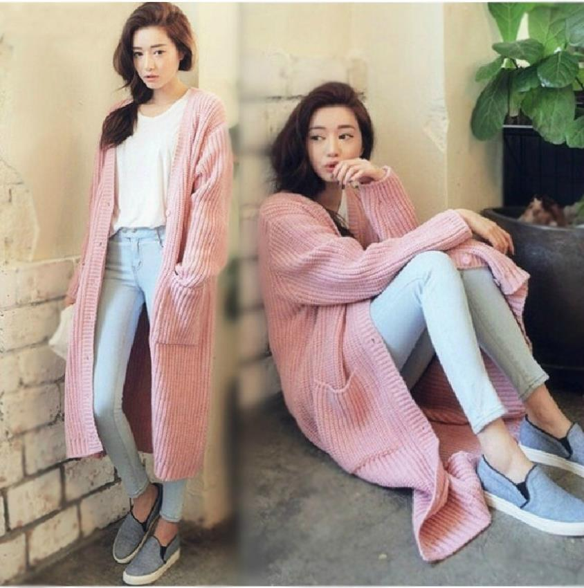 2014 new Korean winter long section V solid straight tie pocket cardigan sweater coat female factory direct - Secrets of Women store