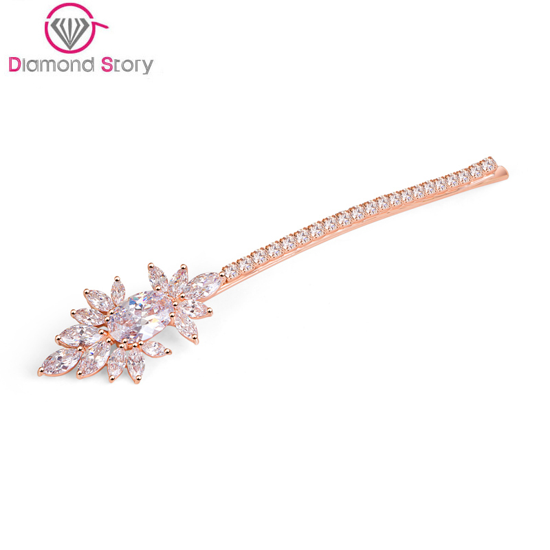 Teemi Newest Top Quality Female AAA Zircon Hair Accessory Hairpin Luxury White Rose Champagne Gold Plated Bridal Wedding Jewelry(China (Mainland))
