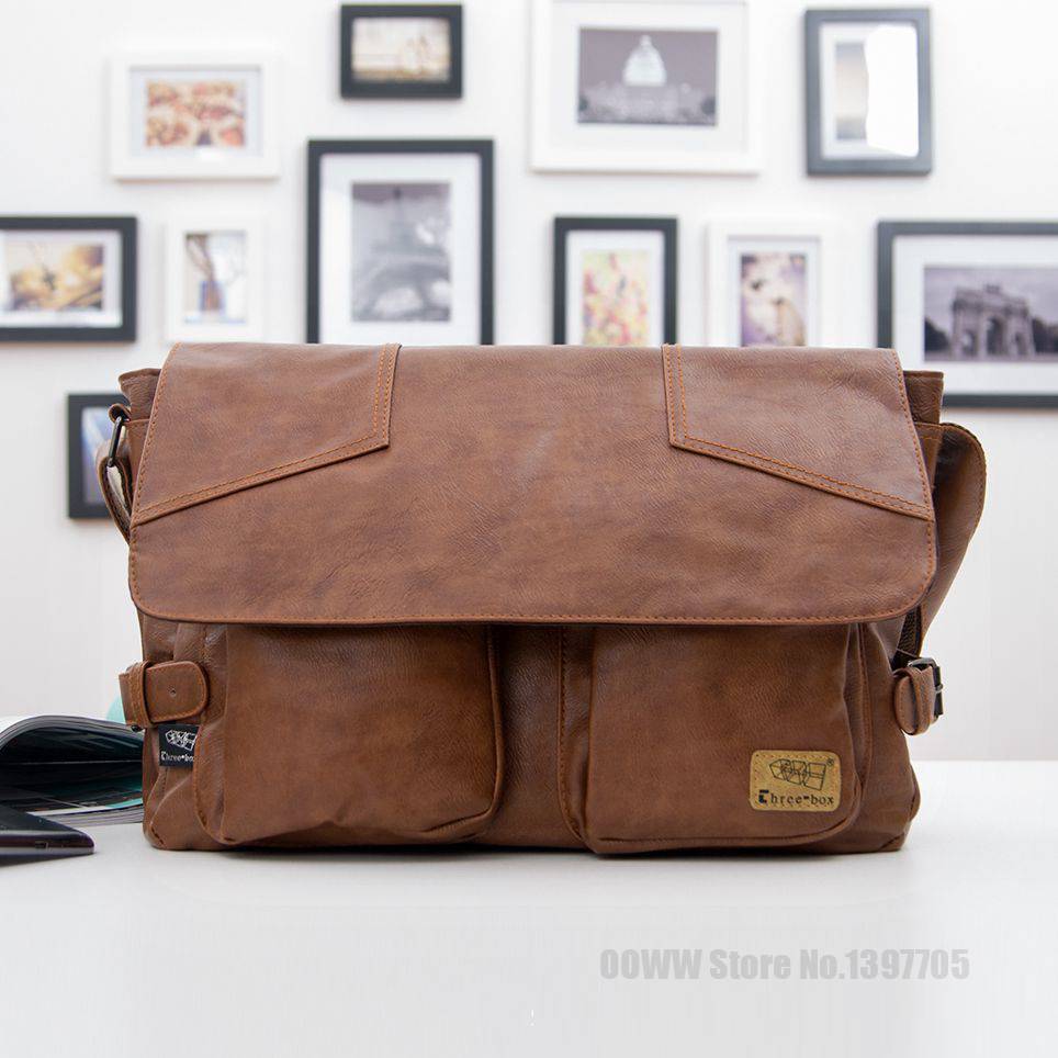 Hot 2015 Fashion New brand black geunine leather men messenger bags Vintage bolsas shoulder bags Casual men's travel bags NT1345(China (Mainland))