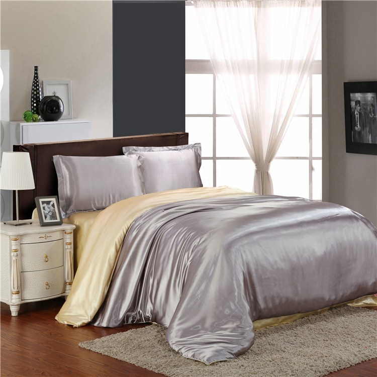 HOT! 100% pure satin silk bedding set,Home Textile Full/Queen/King size bed sheet,bedclothes,duvet cover flat sheet pillowcases(China (Mainland))