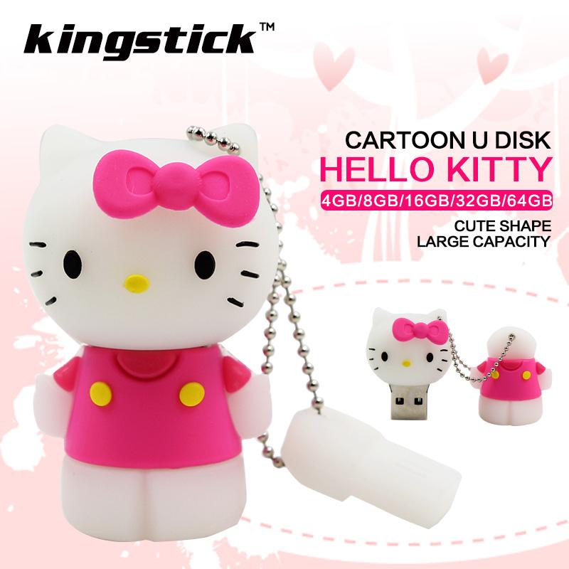 Kingstick USB Flash Drive 32GB U disk 64GB flash memory stick hello kitty pen drive 4GB 8GB 16GB high quality cartoon pendrive(China (Mainland))