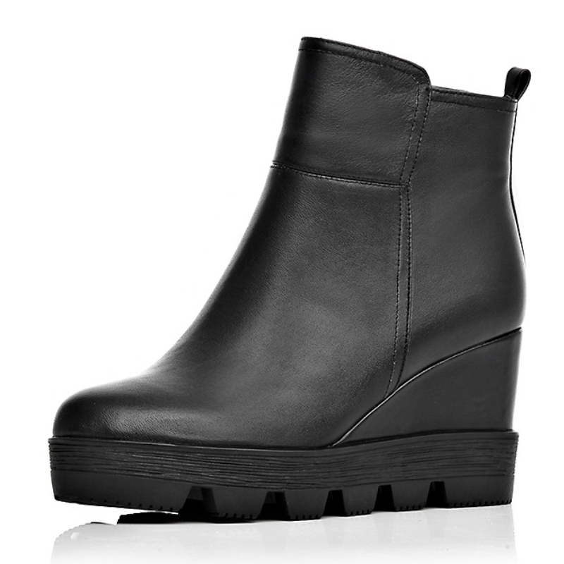 Fashion Buffed winter thin women genuine leather high heels short ankle boot shoes women casual wedge platforms boot(China (Mainland))