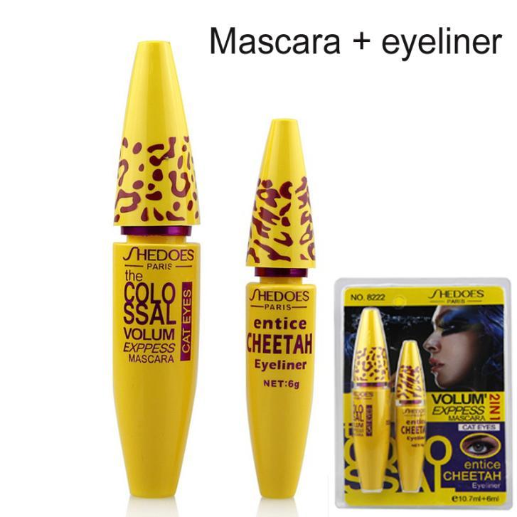 1Set=2pc High Quality Professional Make up Eye liner Set Leopard Colossal Black Mascara + Liquid Entice Cheetah Eyeliner(China (Mainland))