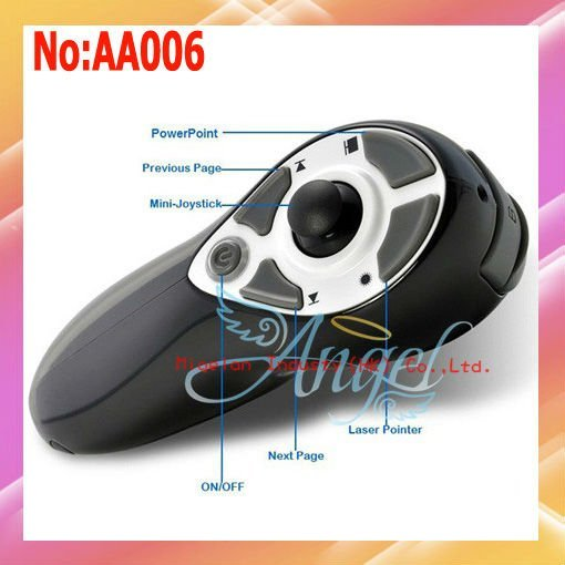 Wholesale Wireless Presenter for PC/Laptop 3 in 1 2.4G RF with Laser Pointer and Joystick Mouse 3 Color #AA006