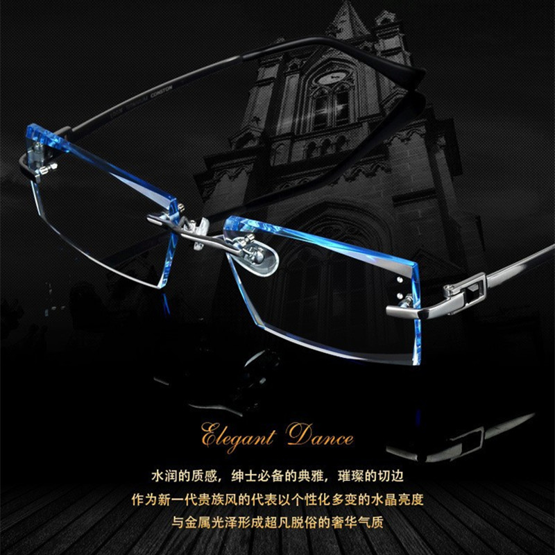 Men fashion glasses titanium rimless eyeglasses frame cut edge diamond decorations optical frame with prescription glass 2015NEWОдежда и ак�е��уары<br><br><br>Aliexpress