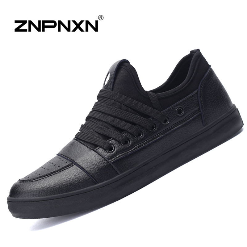 2016 New Spring Mens Casual Shoes Fashions Leather Shoes Men Black Brand Shoes For Men Zapatos Hombre Size 39-44