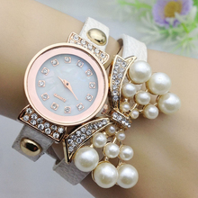 Free shipping 2016 New Fashion Leather Bow Bracelet Watch Korean Fashion Diamond Pearl Wrist Quartz Watches For Women    W238