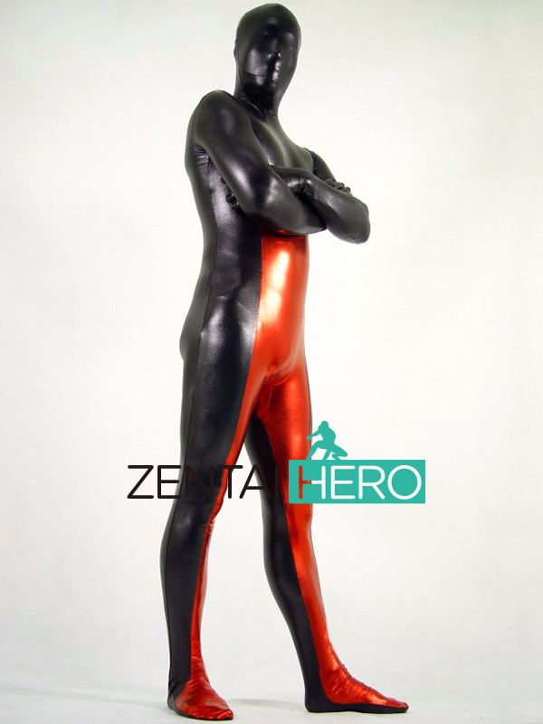 Free Shipping DHL New Adult Strong Black And Red Full Body Multicolor Shiny Metallic Zentai Suit Halloween Costume PS025 (3)