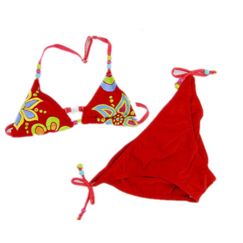 Girls bikini set biquini infantil New Fashion red brown girl swimwear kids lovely two pieces swimsuit