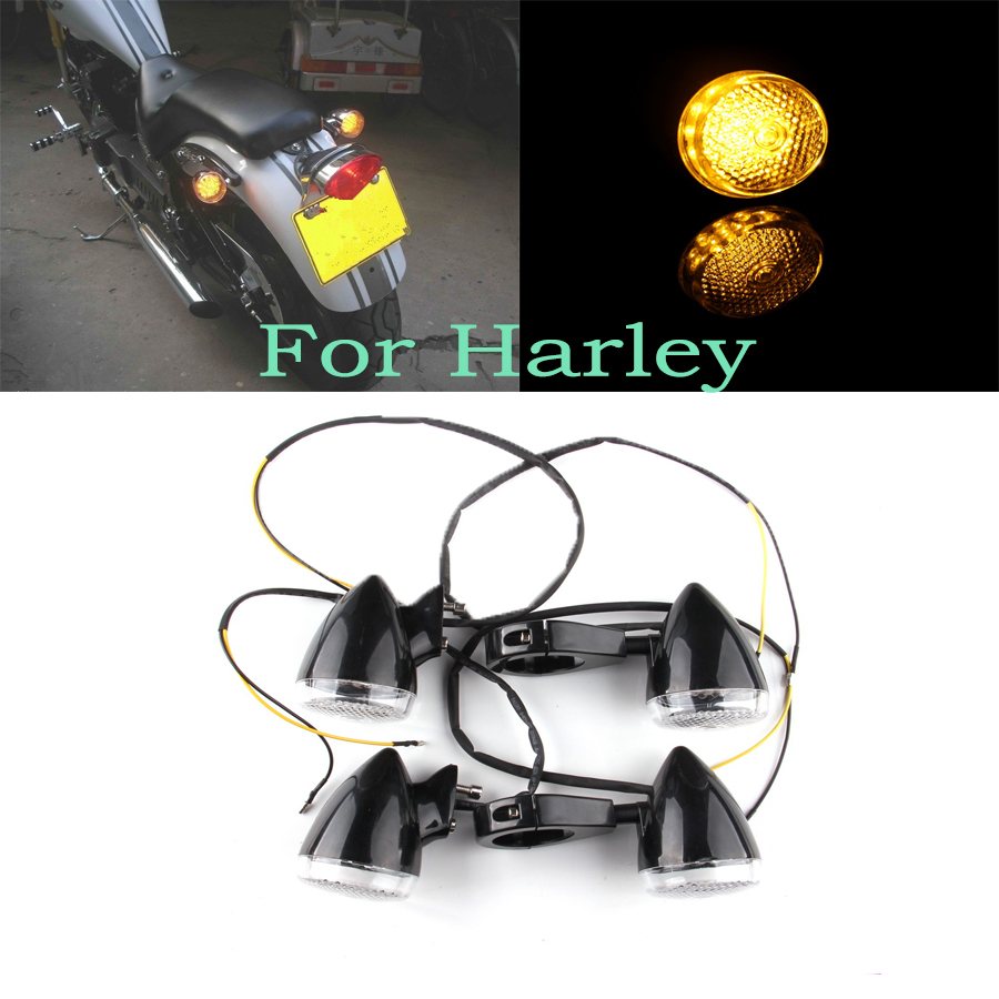 New 12V Amber/Yellow Light 4pcs Universal Motorcycle Turn Lights LED Signals Fit for Harley Indicators Blinker free shipping(China (Mainland))