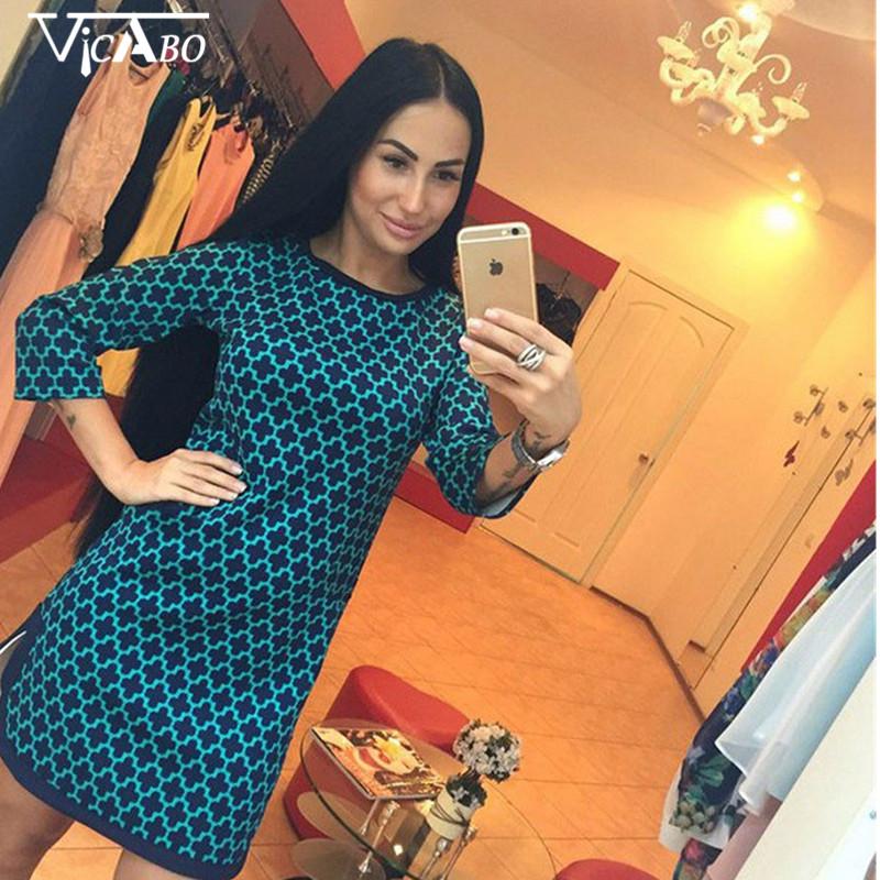 Slim Women Vintage font b Tartan b font Plaid Checkered Dress Boho Print Pattern Jumper Dress