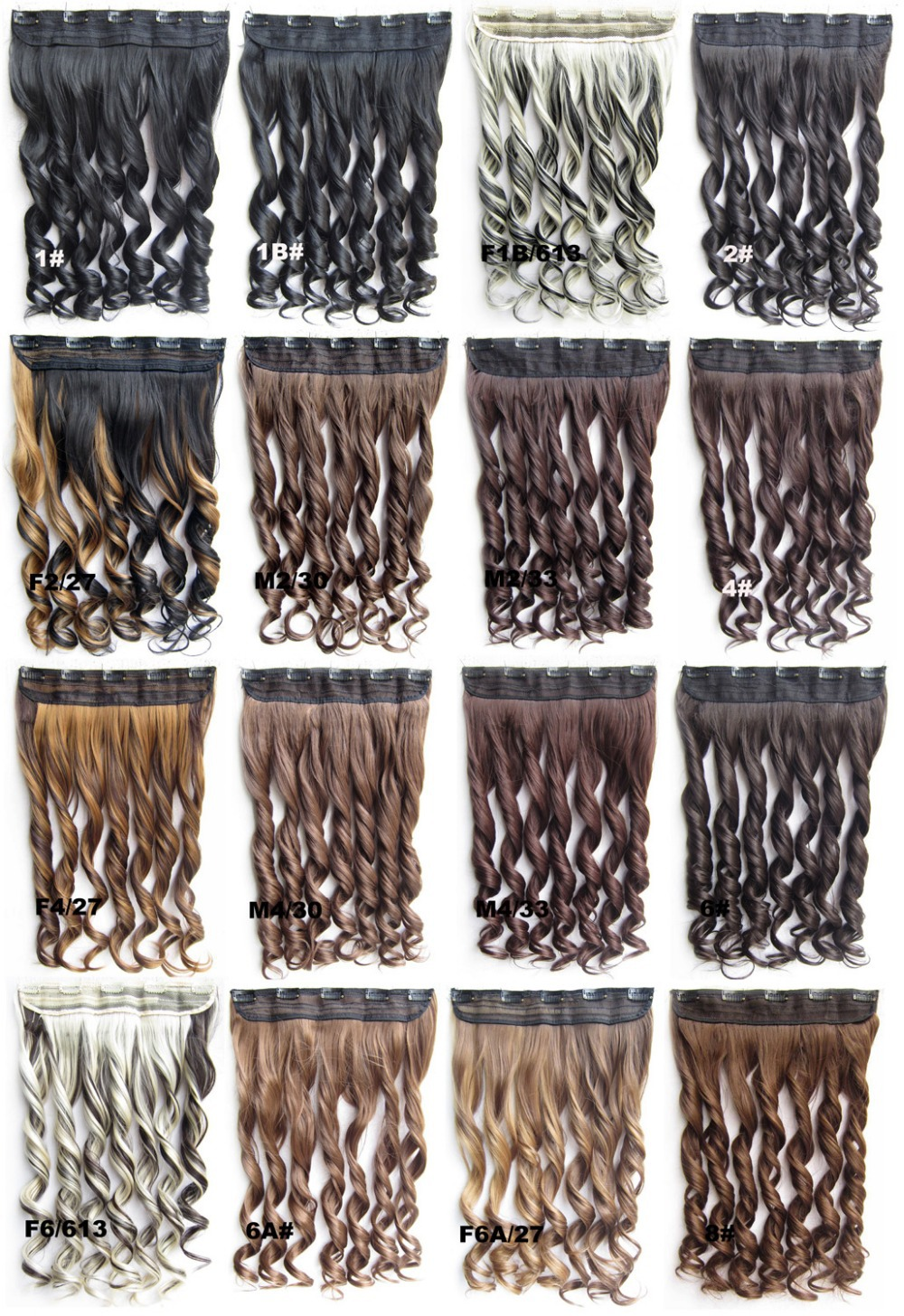 5 clips synthetic wavy hairpiece hair extension ponytail 100 colors available 60cm 130gram 1s - Shelly Dai's store