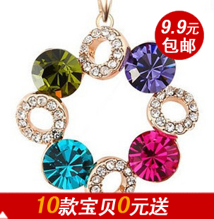 Min.order $10 (mixed order) Xy001 full rhinestone lucky ball crystal short necklace chain female