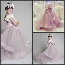 Buy 2016 Ball Gown Organza Scoop Flower Girls Dresses Short Cap Sleeve Wedding Party Dress Flowers Tiered Girls for $86.00 in AliExpress store