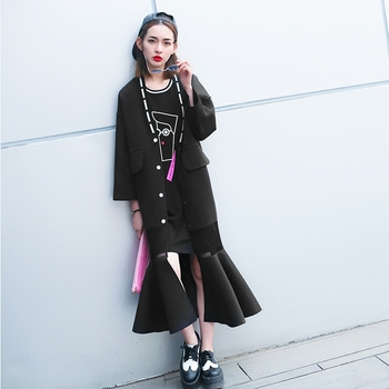 [TWOTWINSTYLE] Original 2016 spring new V-neck fishtail hem grid long loose coat women fashion apparel